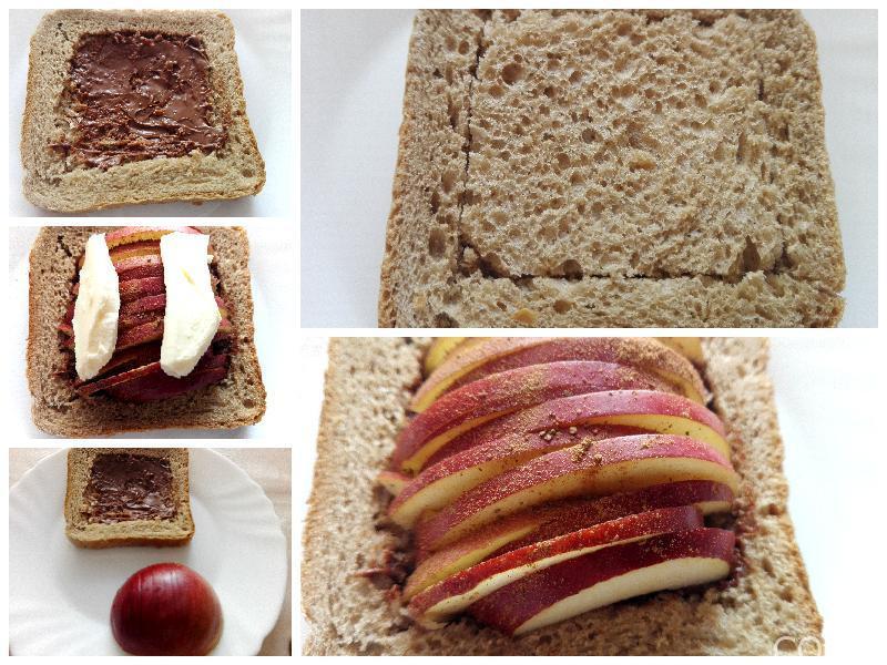 Kolaž pripreme tosta sa jabukama