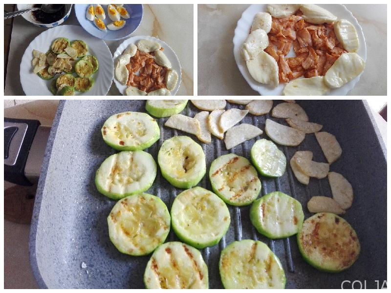 Kolaž pripreme salate sa lososom
