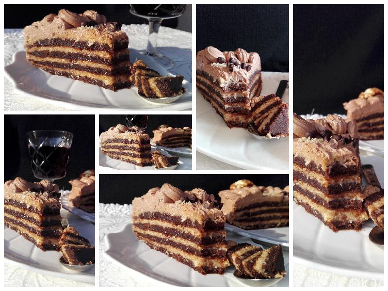 Kolaž gotovog german chocolate cake