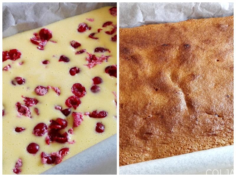Kolaž priprema kolača sa višnjama