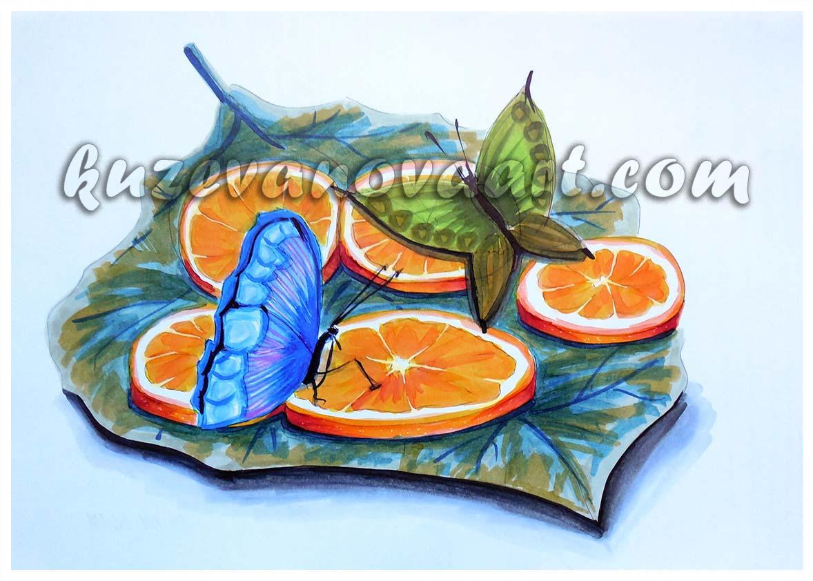 Бабочки с апельсинами
