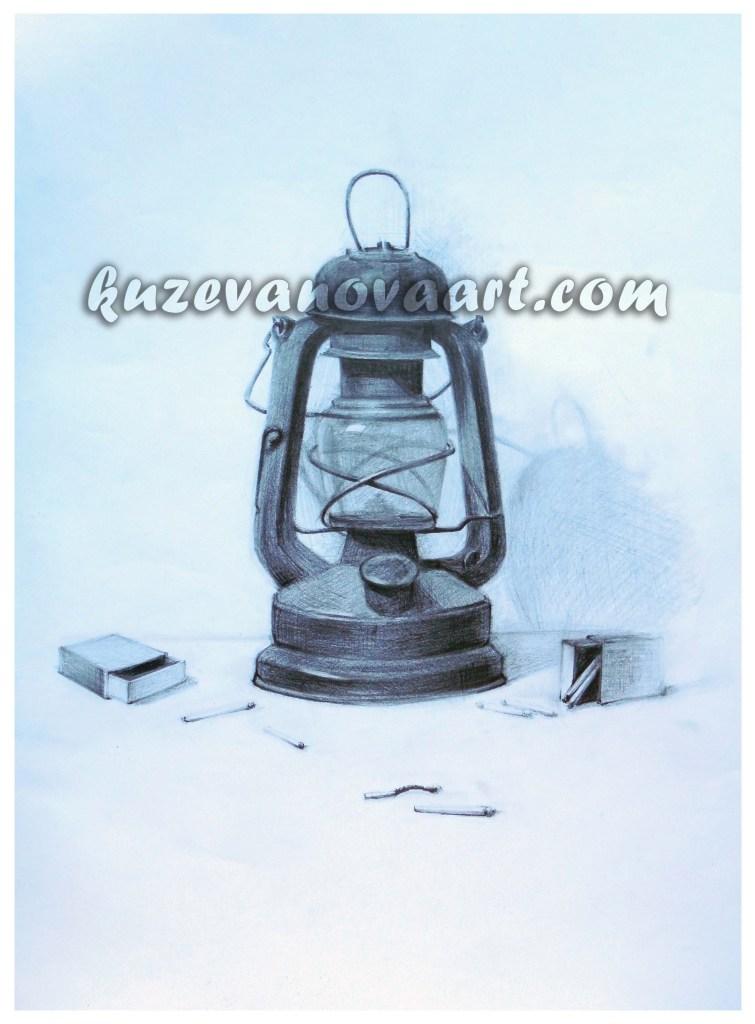 Mācību darbs. Petrolejas lampa.