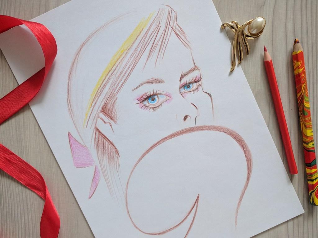 фешн иллюстрация цветными карандашами
