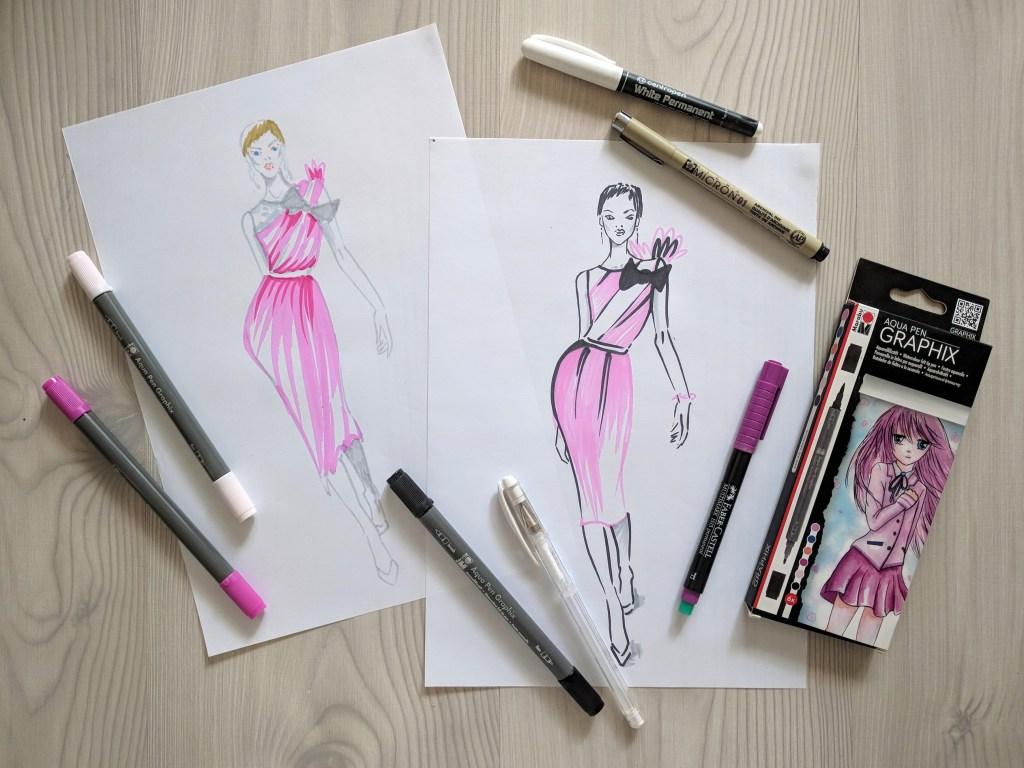 фешн-иллюстрации фломастерами и брашпеном