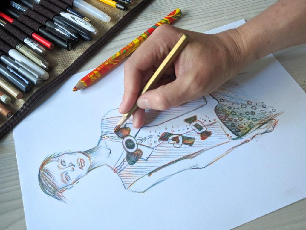 фешн-иллюстрация карандаом мультицвет