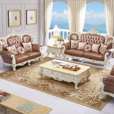 European-style solid wood leather living room 123 sofa combination