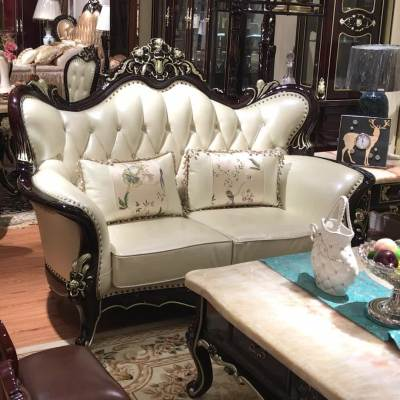 Luxury American royal style solid wood leather sofa