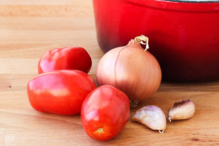 Naast een pan wat tomaten, een ui en wat knoflook: alles wat je nodig hebt voor zelfgemaakte tomato frito.