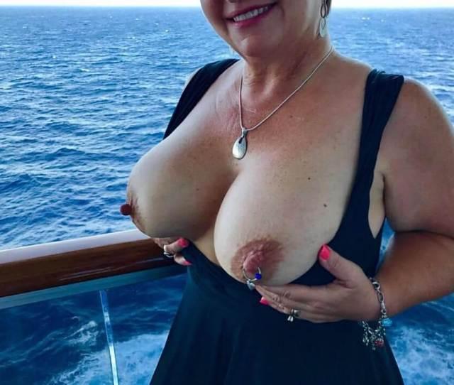 Flashing Huge Boobs With Pierced Nipples