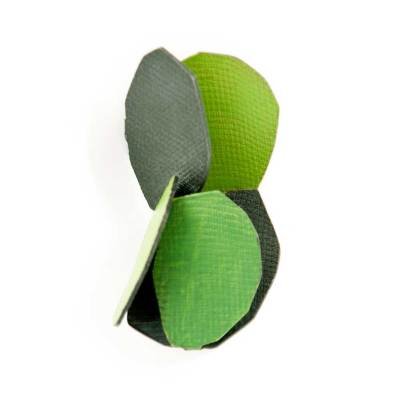Leaves and shadows brooch made of oxidized sterling silver and gren enamel paint featuring abstract botanical forms