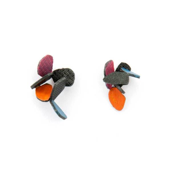Hive earrings made of oxidized sterling silver and orange, pink and blue fall colors enamel paint featuring cascading butterflies.