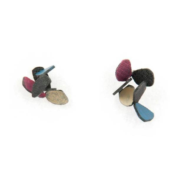 Hive earrings made of oxidized sterling silver and autumn colors enamel paint featuring cascading butterflies.