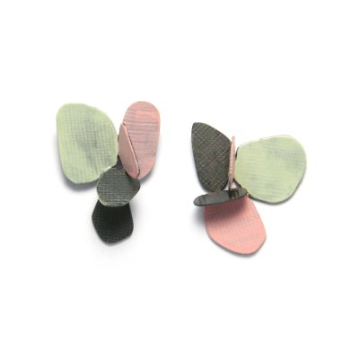 violet stud earrings mint, pink