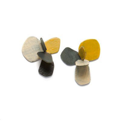 violet stud earrings yellow beige
