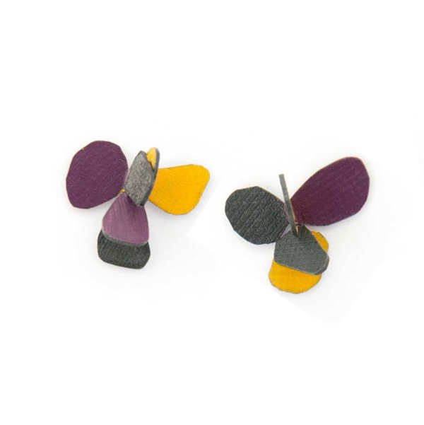 violet stud earrings yellow, purple