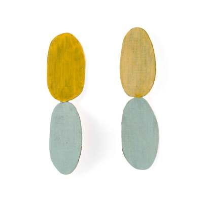 twist earrings-lightblue-yellow