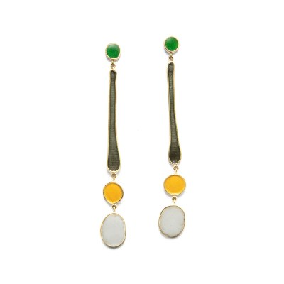 daisies in the field; long enamel drop earrings