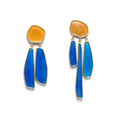 waterfall enamel drop earrings in yellow and bright blue