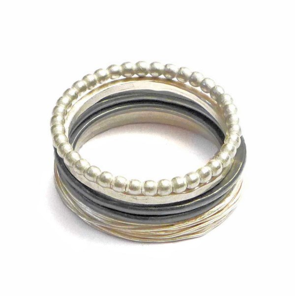 stacking rings black and silver