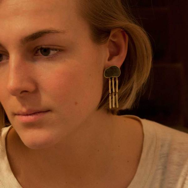 sophie with head in the cloud earrings, clouds with rain shaped earrings made from silver, gold and enamel