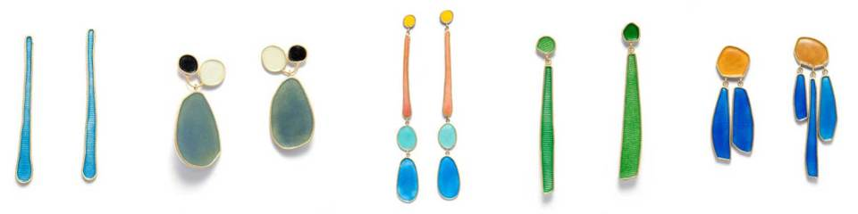 a cselection of contemporary handmade earrings, made from silver, gold and enamel