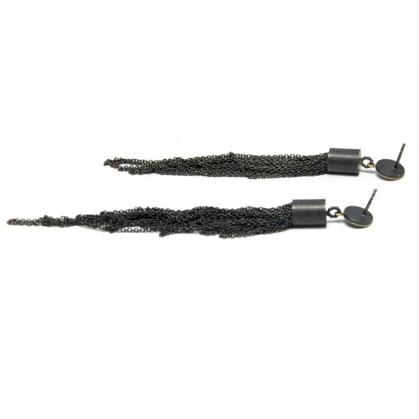 oxidized silver long strand earrings