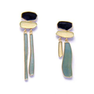 winter waterfall enamel drop earrings in black, white and light blue