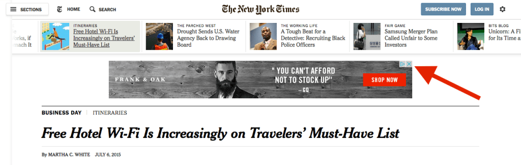 NY Times Banner Display Ad - ppc advertising
