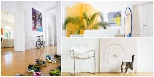 Business - Fotografie 3-er Collage von Innenarchitektur-Aufnahmen mit Kunstwerken