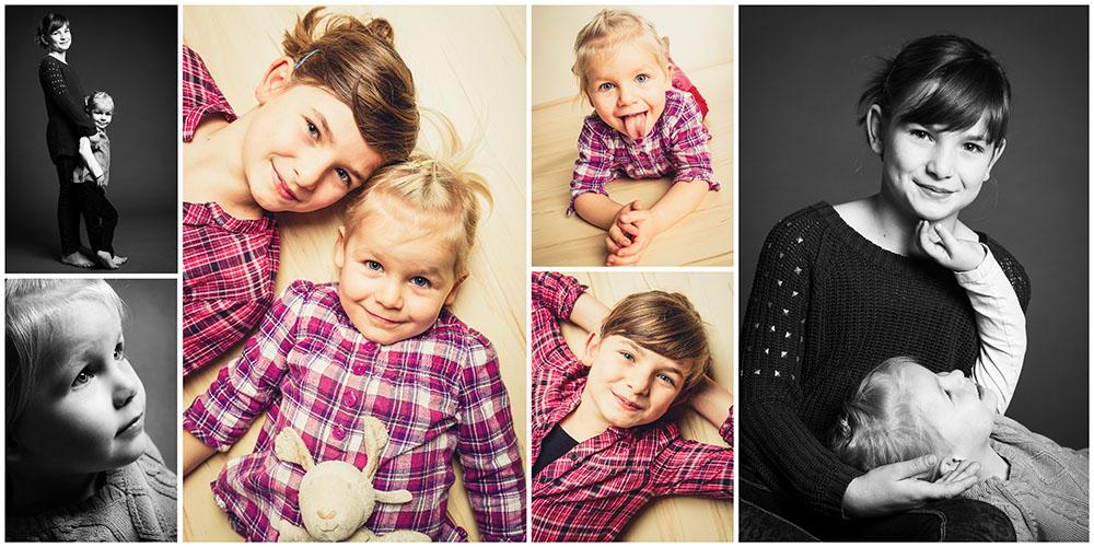6er- Collage von zwei Geschwistern mit rot-karierten Hemden in Farbe und Schwarz/Weiß