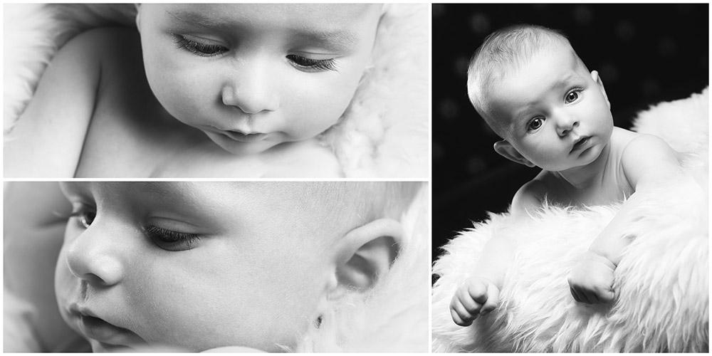 Nahaufnahmen eines Baby im Fell in Schwarz/Weiß