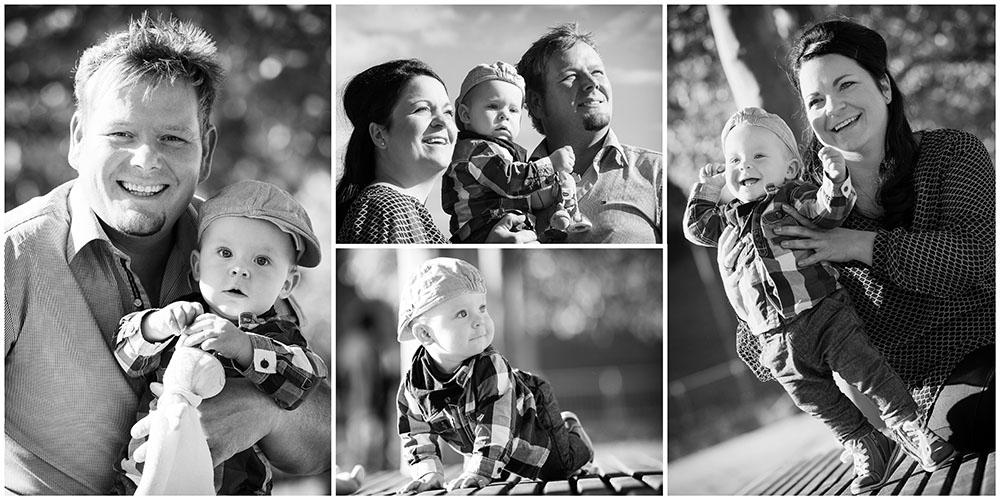 4-er Collage eines Babys mit seinen Eltern in Schwarz/Weiß