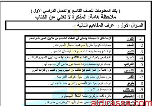 بنك اسئلة علوم للصف التاسع مدرسة طارق السيد رجب الفصل الاول