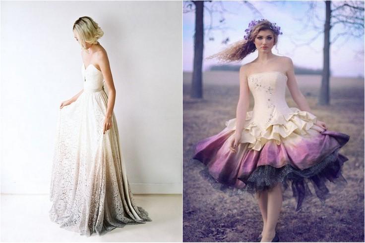 Suknie ślubne dip-dyed