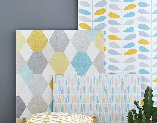 papier peint isthree motifs jaune et bleu