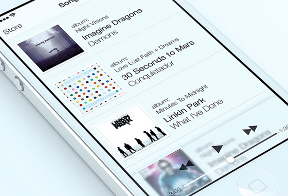 Music player iOS Style by Alex Bender