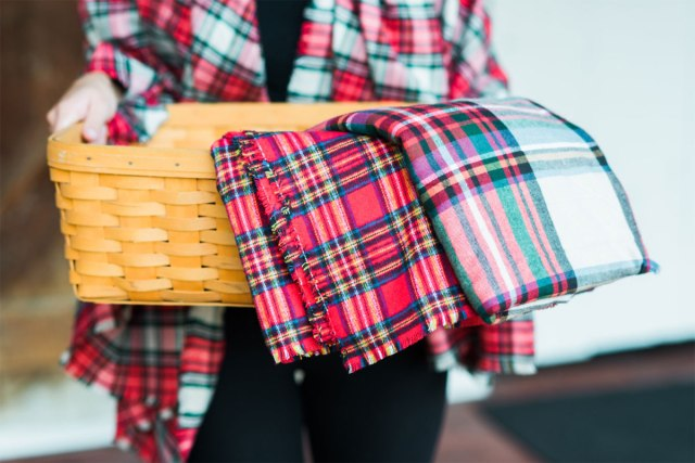 Beautiful plaid blanket wraps from Amy Homan of A Stylish Design