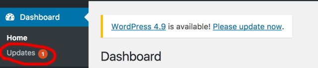 That orange dot means that WordPress needs an update. The update could be for WordPress itself, the plugin or the theme.