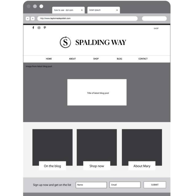 Spalding Way Wireframe Home Page | Katie Williamsen LLC