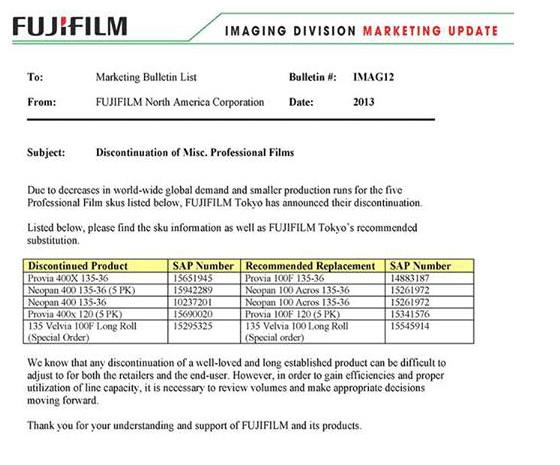 http://photorumors.com/2013/07/20/fujiflm-neopan-400-bw-and-provia-400x-slide-films-discontinued/?utm_source=feedburner&utm_medium=feed&utm_campaign=Feed%3A+PhotoRumors+%28PhotoRumors.com%29
