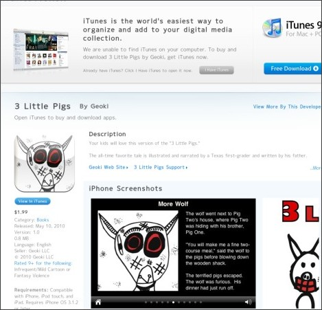 http://itunes.apple.com/us/app/3-little-pigs/id357980333?mt=8