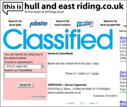 Hull Daily Mail - Classified Ads example