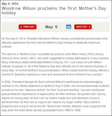 http://www.history.com/this-day-in-history/woodrow-wilson-proclaims-the-first-mothers-day-holiday
