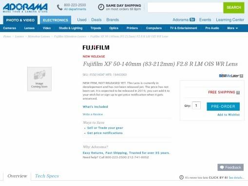 Fujifilm XF 50-140mm (83-212mm) F2.8 R LM OIS WR Lens