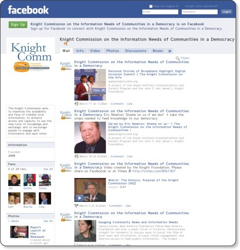 http://www.facebook.com/pages/Knight-Commission-on-the-Information-Needs-of-Communities-in-a-Democracy/327540309462?v=info#!/pages/Knight-Commission-on-the-Information-Needs-of-Communities-in-a-Democracy/327540309462?v=wall