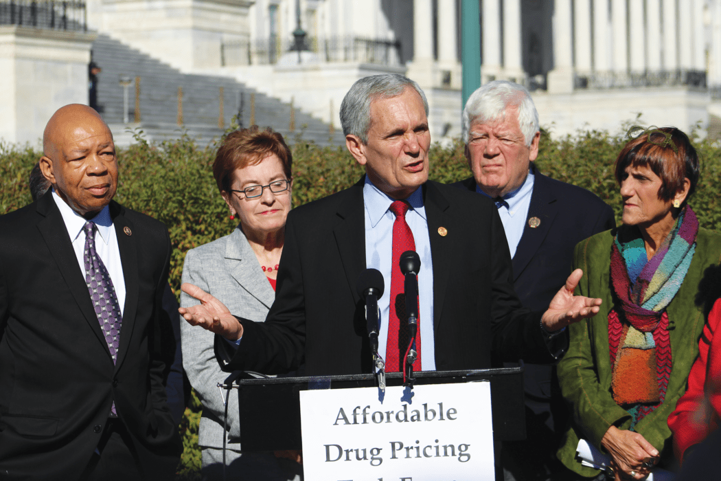 Doggett determination: Representative Lloyd Doggett (center) speaking at a press conference announcing the formation of a prescription drug pricing task force in November 2015. Pictured in back, from left: Representatives Elijah Cummings, Marcy Kaptur, Jim McDermott, and Rosa DeLauro.