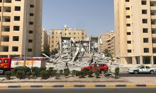 Nine-storey building collapse in Mahboula