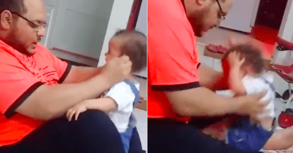 Frightening footage shows father hitting and throwing almost wailing infant to make her walk