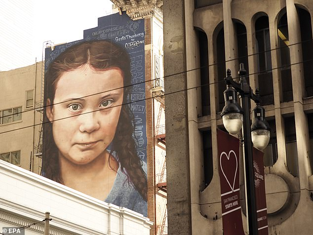 USA: Youngest Climate Change Activist Greta Thunberg's 60 ft tall wall painting unveiled at San Francisco