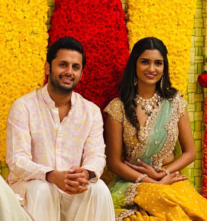 Telugu star nithiin and his girlfriend shalini got engaged